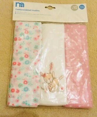 Baby Girls Pink Large Muslin Cloths 3 Pack Mothercare