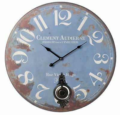 Wooden Wall Clock Metal Pendulum Blue Rustic Distressed Shabby Chic Large 58cm