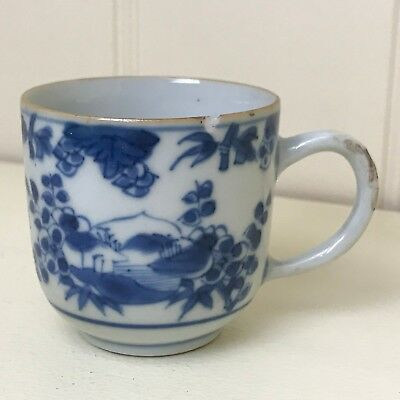 Antique Chinese Export Porcelain Small Blue and White Coffee Cup.