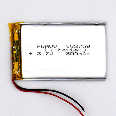 3.7 V 800mAh 383759 Li-Polymer Rechargeable Battery Li-ion LiPo Cell for GPS MP3