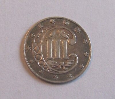 1862  Three Cent Piece Silver -  AU Condition -  TYPE COIN