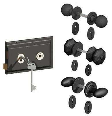 Black Antique Cast Iron Old English Rim Lock Door Knob Set Handles