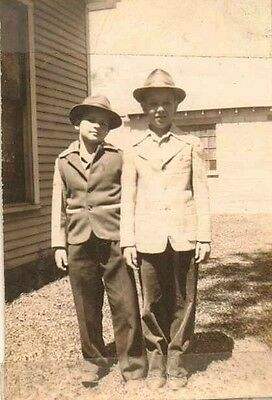 Old Antique Vintage Photograph Two Little Boys Wearing Suits and Cool Hats