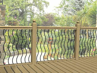 Pack Of 4 Wavy Metal Decking Panel Wavy Rail Infill Bars Spindles Steel Decking