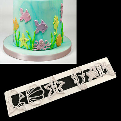 Sea Shell Animals Icing Fondant Cutter Cake Decorating Mould Fish Seahorse