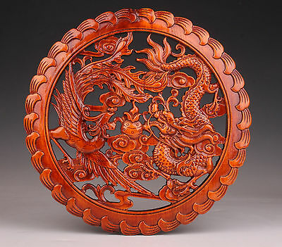 China Collection Plates Dragon Phoenix Decoration Wood Hand-Carved