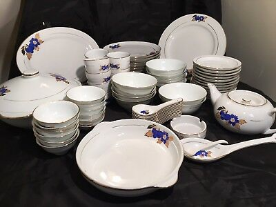 Vintage, Blueberry Asian  Dinnerware set  , Set of 78pcs
