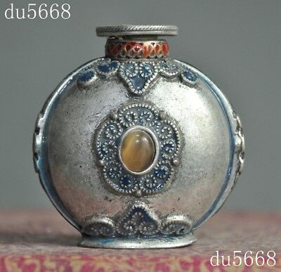 rare old Chinese dynasty Tibetan silver Cloisonne mosaic gem flower snuff bottle