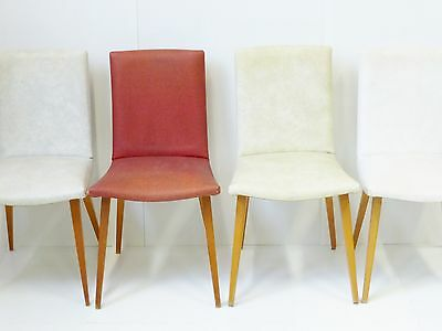 SUITE 4 CHAIRS IN LEATHERETTE TYPICAL 1950 VINTAGE FRENCH 50's ROCKABILLY CHAIRS