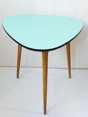 TABLE HIGH TRIPOD PLATE FORMICA GREEN PALE/ TURQUOISE 1950 VINTAGE DESIGN n°2