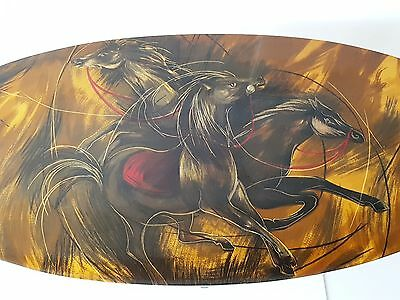 SUPERB TABLE LOW TO THE HORSES 1960 1970 VINTAGE PLASTIC RESIN 60's 70's