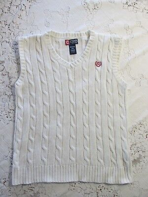 CHAPS Boys Medium 12-14 Off-White Cotton Cable Knit Vest, EUC,