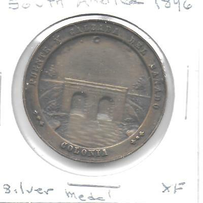 South America(Uruguay?) 1896 Commemorative Silver Medal 33 mm W/Thick Planchet