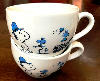 Snoopy and Friends white with blue set of 2 coffee cups ceramic So cute! No Rsv
