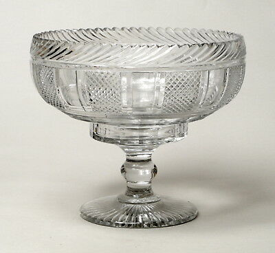 An Exceptional Quality Large Antique Anglo Irish Cut Glass Footed Bowl Georgian.