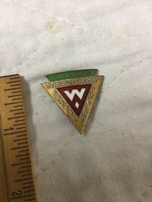Antique Gold Employee Service Pin Whiting's Whitings Dairy Boston Mass Art Deco