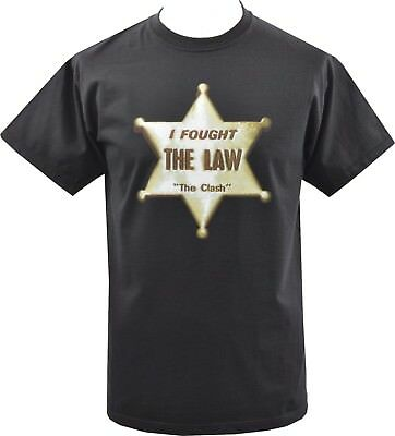 Mens Black T-Shirt The Clash Original British Punk Sheriff Badge Star 1977 S-5Xl