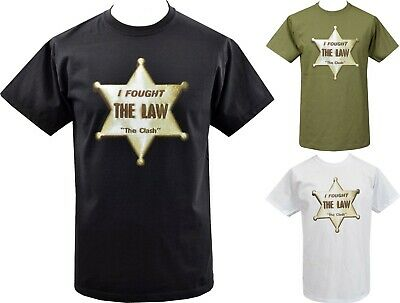 Mens White T-Shirt The Clash Original British Punk Sheriff Badge Star 1977 S-5Xl