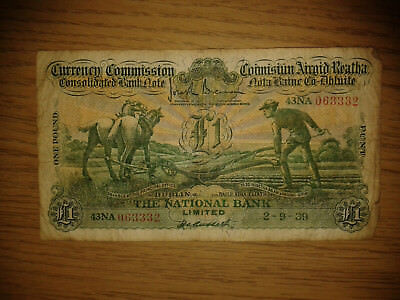 Ireland National Bank Limited £1 pound 1939 - Ploughman Note - F condition