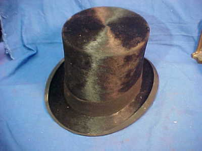 19thc MANS Beaver TOP HAT w Rolled BRIM Silk Band Very Clean