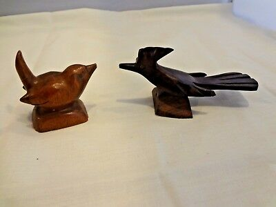 (2) Small vintage hand carved birds - Road Runner - all solid wood - miniatures