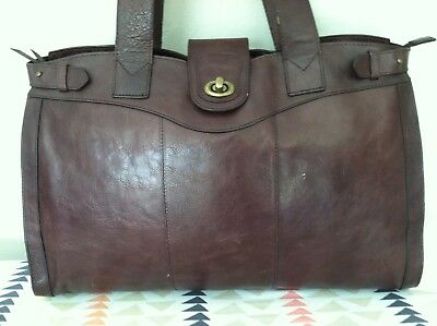 Franklin Covey Rare Style X Large Brown Leather Laptop / Business / Travel Bag!