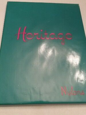 2 Pair Vintage Nylon Stockings Heritage New Old stock boxed 10 Med nude Tan