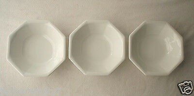 """Lot of 3 Johnson Bros HERITAGE WHITE Ironstone 7"""" Coupe Cereal Bowls ENGLAND"""
