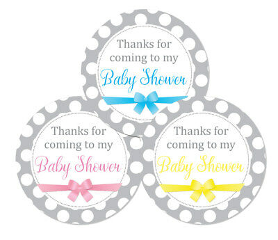 Baby shower stickers grey,white polka dots & ribbon design 60mm dia, 24 in pack