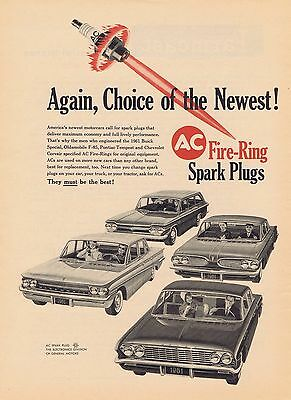 1960 Ad - AC SPARK PLUGS - OLDS F-85, CORVAIR, PONTIAC TEMPEST, BUICK SPECIAL