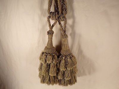 Antique Pair of Large Silk Drape Curtain Tie Back Tassels French?