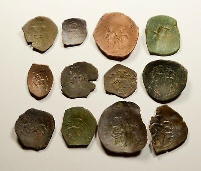 Lot Of 12 Ancient Byzantine Cup Coins For Identifying - 011