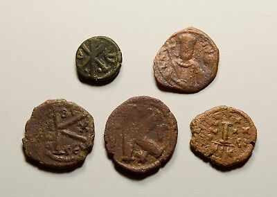 Authentic Ancient Medieval Byzantine Coins - LOT OF 5