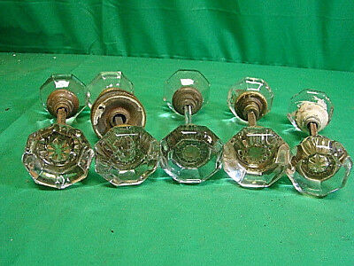 Lot Of 5 Sets (10 Knobs) Oversized Glass Crystal Antique Art Deco Door Knob Sets