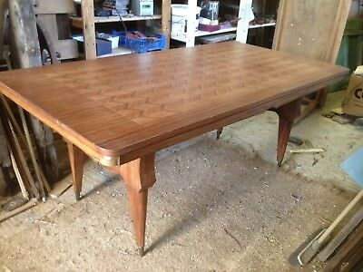 Mid Century French Dining Table - Jules Lelue style - seat 8-10 - Veneer