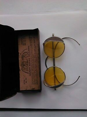 Vintage  WILLSON  Sunglasses /Goggles, Safety Glasses,Yellow Tint,Pat1916 w/case