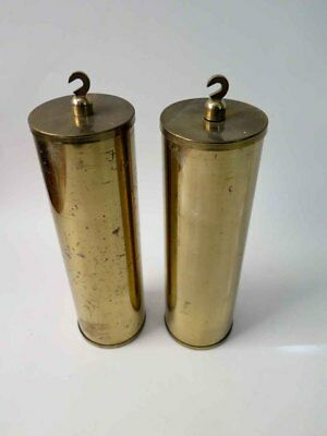 Pair Of Antique Brass Tube Weights From Grandfather Hall Or Tall Clock