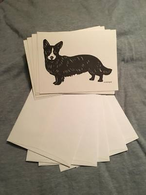 Cardigan Welsh Corgi note cards, Scherenschnitte, blank New, 5 w/ envelopes