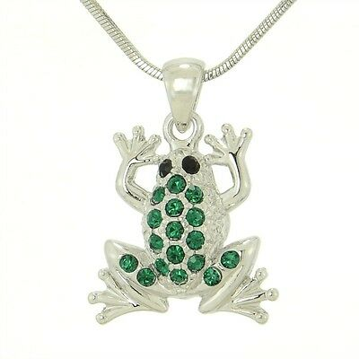 "W Swarovski Crystal FROG Forest Water Necklace Green Pendant Jewelry 18"" chain"
