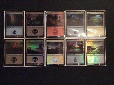 "MTG Magic the Gathering 10x FOIL ""BASIC LAND"" Common Cards Various Set - VGC"