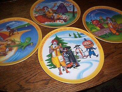 "Vintage Set 8 McDonalds 10"" Plates Ronald McDonald Seasons 1977 ~ EXCELLENT!"