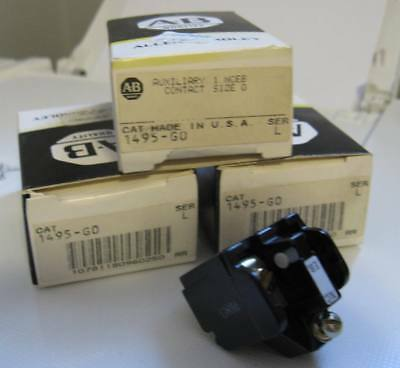 Lot of 3 New Old Stock NOS Allen Bradley 1495-GO Aux. NC Contact Size 0 Ser.L
