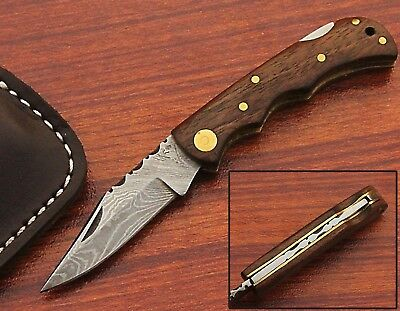 Handmade Damascus Folding Lock Back Knife Walnut Wood Handle(KS-158WF)