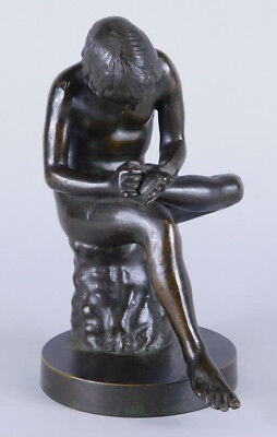 VINTAGE BRONZE SCULPTURE NAKED BOY YOUTH - NUDE MALE - SPINARIO - Gay Interest