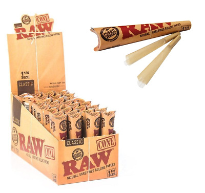 RAW Classic Pre Rolled Cone 1 1/4 1.25 - Box 32 PACKS - Papers 6 Cone Per Pack