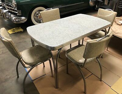 Vintage Kitchen Master 1950's Formica Chrome Table & 4 Chairs, Douglas Corp