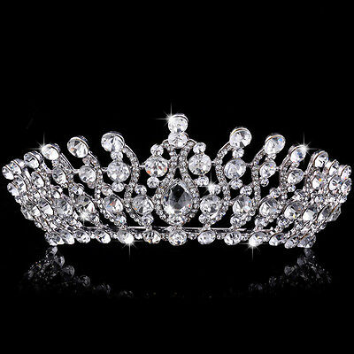 Queen Crystal Tiara Crowns Headband Rhinestone Drop Wedding Bridal Hair Jewelry
