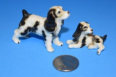 Vintage Japan Miniature Fine Bone China Brittany Spaniel dogs! Mom & Pup!