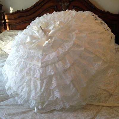 Vintage Frilly Lace Parasol White