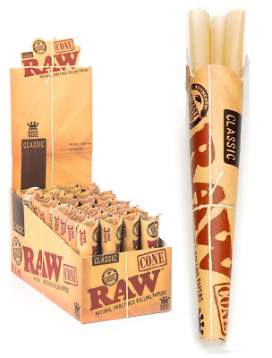 RAW Classic Pre Rolled Cone King Size - Box 32 PACKS - Roll Papers 3 Cone Pack
